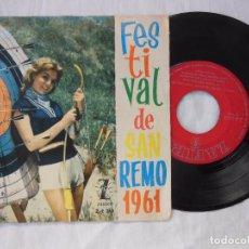 Discos de vinilo: TONY DALLARA : AL DI LA; UN UOMO VIVO; MARE DI DICEMBRE; FEBBRE DI MUSICA. FESTIVAL DE SAN REMO 1961. Lote 100442339
