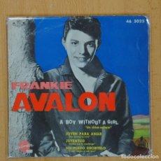 Disques de vinyle: FRANKIE AVALON - A BOY WITHOUT A GIRL + 3 - EP. Lote 100507094