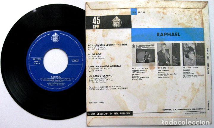 Discos de vinilo: Raphael - Los Hombres Lloran Tambien +3 - EP Hispavox 1964 BPY - Foto 2 - 100520899