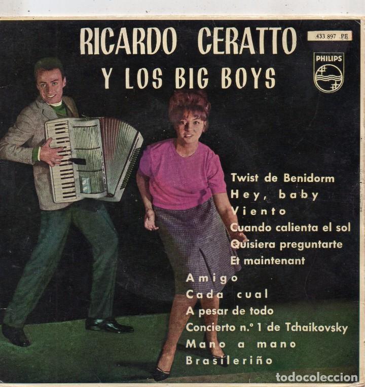 Discos de vinilo: RICARDO CERATTO y Los BIG BOYS, EP, TWIST DE BENIDORM + 3, AÑO 1962 - Foto 2 - 100711771
