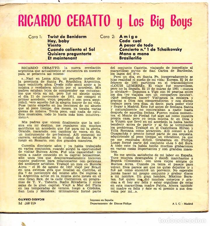 Discos de vinilo: RICARDO CERATTO y Los BIG BOYS, EP, TWIST DE BENIDORM + 3, AÑO 1962 - Foto 3 - 100711771