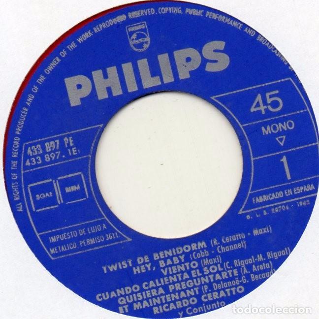 Discos de vinilo: RICARDO CERATTO y Los BIG BOYS, EP, TWIST DE BENIDORM + 3, AÑO 1962 - Foto 4 - 100711771