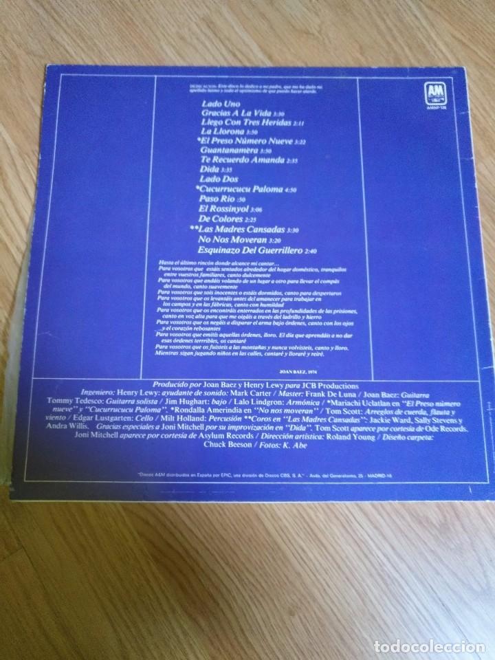 Discos de vinilo: JOAN BAEZ - GRACIAS A LA VIDA - LP 1977 CBS INCLUYE NONOS MOVERAN - Foto 2 - 100721963