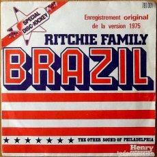 Discos de vinilo: RITCHIE FAMILY : BRAZIL [FRA 1975]. Lote 100976167