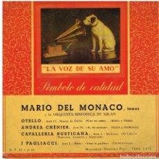 Discos de vinilo: MARIO DEL MONACO - OTELLO / ANDREA CHENIER / CAVALLERIA RUSTICANA + 1 - EP 1958. Lote 101018839