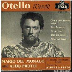 Discos de vinilo: MARIO DEL MONACO - OTELLO (VERDI) - EP 195?. Lote 101019015
