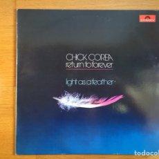 Discos de vinilo: CHICK COREA: LIGHT AS A FEATHER. Lote 101082850