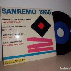 Discos de vinilo: SANREMO 1966-EP DE 4 CANCIONES - BELTER- . Lote 101126735