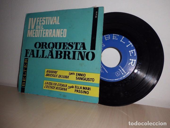 IV FESTIVAL DEL MEDITERRANEO-ORQUESTA FALLABRINO- -BELTER- BARCELONA- AÑO 1962- (Música - Discos de Vinilo - Maxi Singles - Otros Festivales de la Canción)