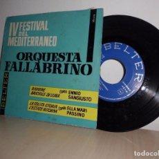 Discos de vinilo: IV FESTIVAL DEL MEDITERRANEO-ORQUESTA FALLABRINO- -BELTER- BARCELONA- AÑO 1962-. Lote 101126835