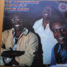 Discos de vinilo: LP 1969 THE IMPRESSIONS / CHEK OUT YOUR MINDI , BIEN ,VER ESTADO Y CANCIONES EN MAS FOTOS, . Lote 113003791
