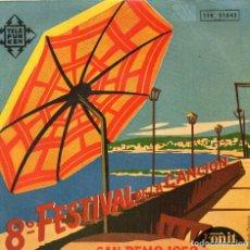 Discos de vinilo: SAN REMO 1958 DOMENICO MODUGNO-LICIA MOROSINI-GIACOMO RONDINELI- (ENVÍO MÁXIMO POR PAQUETE ES 10 €) . Lote 101323803