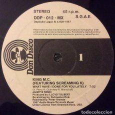 Discos de vinilo: KING M.C.- WHAT HAVE I DONE FOR YOU LATELY- 12' SPAIN 1986 HIP HOP . Lote 101407635
