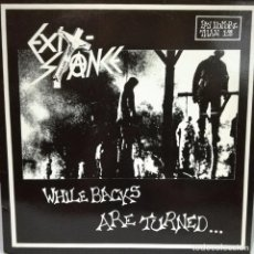 Discos de vinilo: EXIT STANCE - WHILE BACKS ARE TURNED LP ORIGINAL MORT 11 + INSRT MUY RARO UK. Lote 158050662