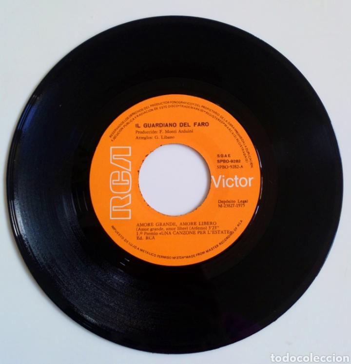 Discos de vinilo: IL GUARDIANO DEL FARO 1975 AMORE GRANDE, AMORE LIBERO. ITALIA. 1er. PREMIO. UNA CANZONE PER . - Foto 3 - 101574699