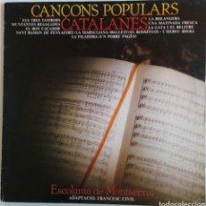 Discos de vinilo: CANÇONS POPULARS CATALANES. ESCOLANIA DE MONTSERRAT. 1981. SPAIN. Lote 101695418