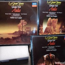Discos de vinilo: VERDI AIDA KARAJAN COMPLETA 3 LP COMO NUEVOS. Lote 101754743