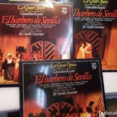 Discos de vinilo: ROSSINI EL BARBERO DE SEVILLA COMPLETA MARRINER 3 LP COMO NUEVOS. Lote 101756211