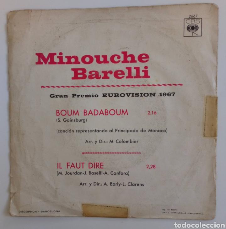 Discos de vinilo: MINOUCHE BARELLI 1967 GRAN PREMIO EUROVISIÓN REPRESENTANDO AL PRINCIPADO DE MÓNACO. CBS ESPAÑA - Foto 2 - 101910202