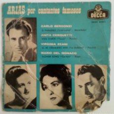 Discos de vinilo: ARIAS POR CANTANTES FAMOSOS 1959 BERGONZI, CERQUETTI, ZEANI Y MARIO DE MÓNACO. Lote 101933211