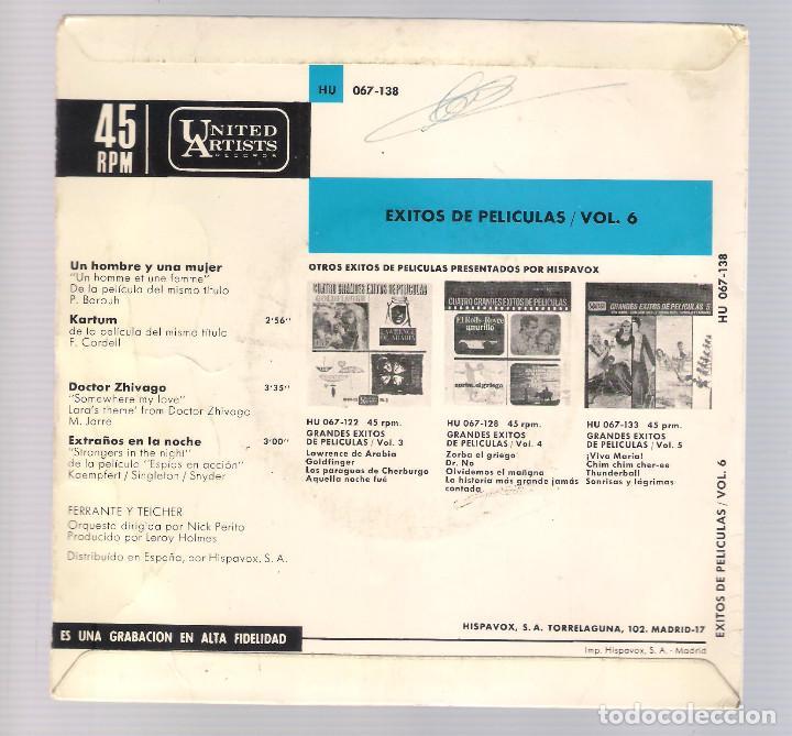 Discos de vinilo: EXITOS DE PELICULAS FERRANTE & TEICHER VOL.6 - Un hombre y una mujer + Kartum... (EP 7'' 1966) - Foto 2 - 101988707
