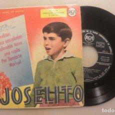 Discos de vinilo: DISCO SINGLE JOSELITO CLAVELITOS, DOCE CASCABELES. RCA 1959. Lote 102219263