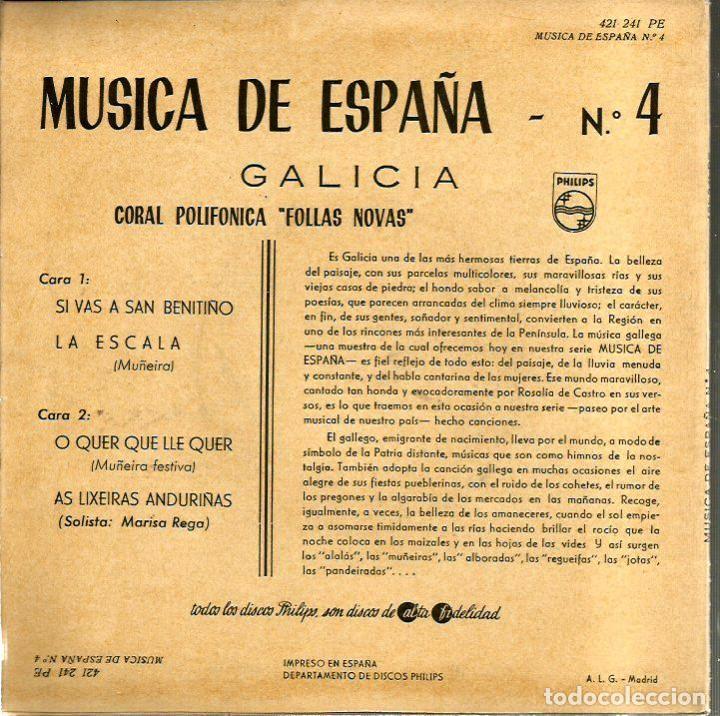 Discos de vinilo: EP CORAL POLIFONICA FOLLAS NOVAS : GALICIA ( MUSICA DE ESPAÑA Nº 4) SI VAS A SAN BENITIÑO + 3 - Foto 2 - 102278087