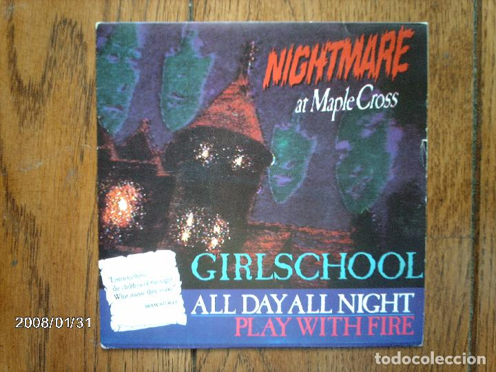 GIRLSCHOOL - ALL DAY ALL NIGHT + PLAY WITH FIRE (Música - Discos - Singles Vinilo - Heavy - Metal)