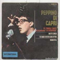 Discos de vinilo: PEPPINO DI CAPRI. TA. TROPEZ TWIST. HISPAVOX 1964.. Lote 102359163