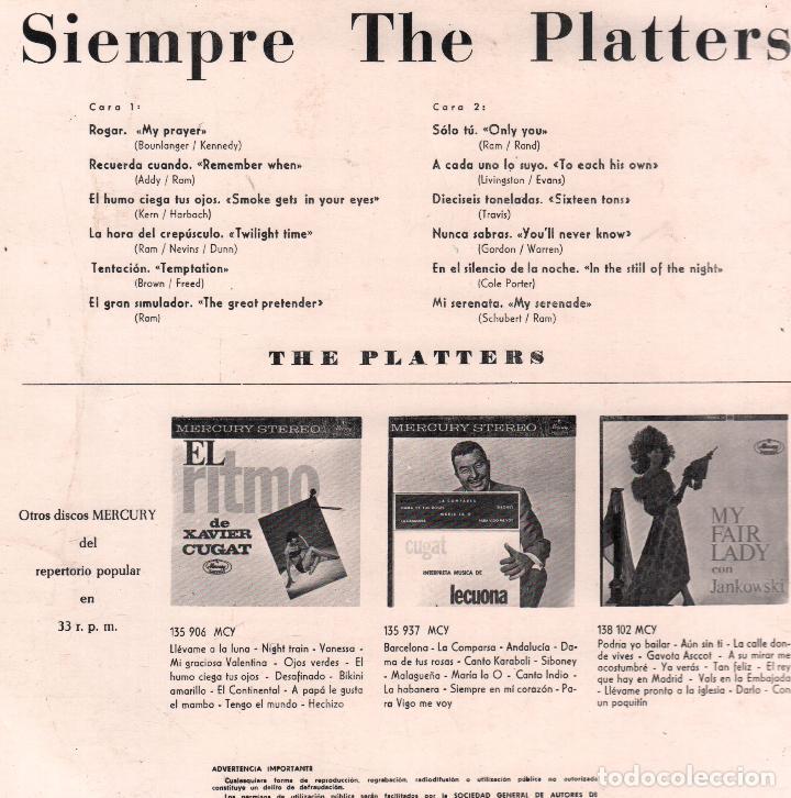 Discos de vinilo: SIEMPRE THE PLATTERS LP MERCURY DE 1962 RF-4153 - Foto 2 - 102582727