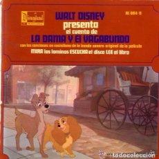 Discos de vinilo: DISCO CUENTO INFANTIL WALT DISNEY PRESENTA, LA DAMA Y EL VAGABUNDO - EP DISNEYLAND . Lote 102675507