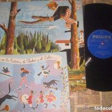 Discos de vinilo: PEDRO Y EL LOBO.- ENRIQUE BERGIER-(PHILIPS -1964) +LIBRO OG ESPAÑA COMPLETO. Lote 102735519