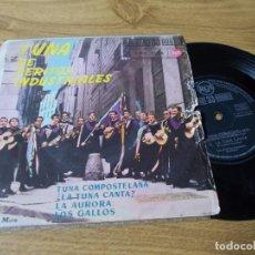 Discos de vinilo: TUNA DE PERITOS INDUSTRIALES. TUNA COMPOSTELANA. LA TUNA CANTA, LA AURORA, LOS GALLOS.. Lote 102820959