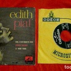 Discos de vinilo: EDITH PIAF (LOTE 2 EPS 1953-61) NON, JE NE REGRETTE RIEN, OPINION PUBLIQUE, SOEUR ANNE, LA GOUALANTE. Lote 102838543