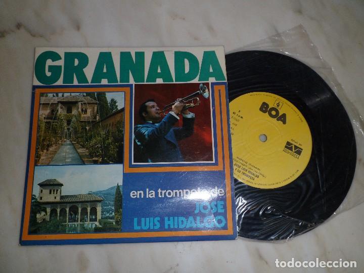 EP. GRANADA EN LA TROMPETA DE JOSE LUIS HIDALGO. EMBRUJO DE TROMPETA/ MACARENAS/ SONIDO GRANADA (Música - Discos de Vinilo - EPs - Flamenco, Canción española y Cuplé)