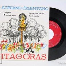 Discos de vinilo: DISCO EP DE VINILO - ADRIANO CELENTANO / PITAGORAS - ZAFIRO - AÑO 1960. Lote 102956187