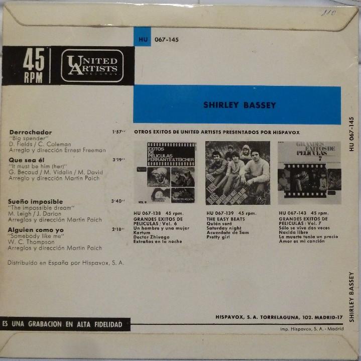 Discos de vinilo: SHIRLEY BASSEY - DERROCHADOR - Foto 2 - 102950570