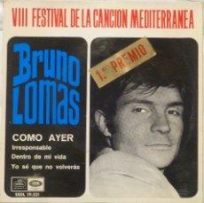 Discos de vinilo: BRUNO LOMAS - VIII FESTIVAL CANCION MEDITERRANEA. Lote 102950767