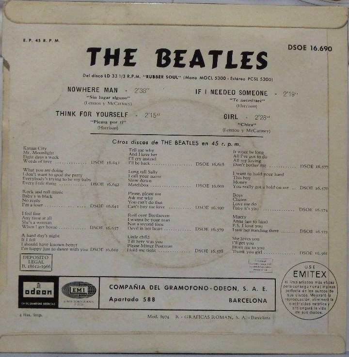 Discos de vinilo: THE BEATLES - GIRL - Foto 2 - 102950179