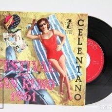 Discos de vinilo: DISCO EP DE VINILO - FESTIVAL DE SAN REMO 1961 / ADRIANO CELENTANO - ZAFIRO - AÑO 1961. Lote 103028363