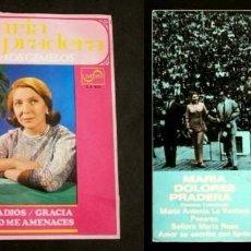 Discos de vinilo: MARIA DOLORES PRADERA (DOS EP. 1968-69) CON LOS GEMELOS - CANCIONES COLOMBIANAS - NO ME AMENACES. Lote 103054427