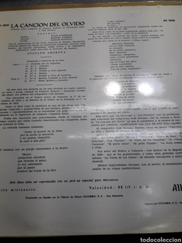 Discos de vinilo: LP La Canción del Olvido 1962 - Foto 2 - 103112459