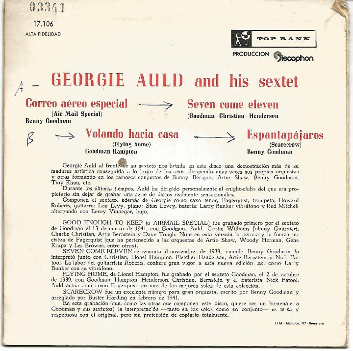 Discos de vinilo: GEORGIE AULD - AIR MAIL SPECIAL + 3 (EP DE 4 CANCIONES) VINILO AZUL - VG+/EX - Foto 2 - 103114015