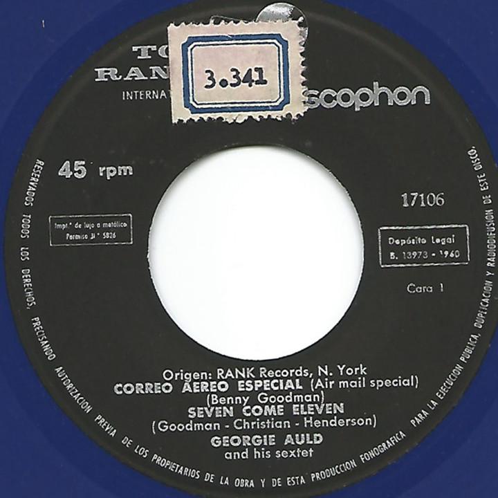 Discos de vinilo: GEORGIE AULD - AIR MAIL SPECIAL + 3 (EP DE 4 CANCIONES) VINILO AZUL - VG+/EX - Foto 3 - 103114015