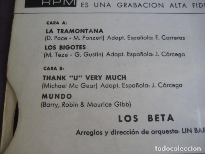 Discos de vinilo: LOS BETA EP SONOPLAY 1968 mundo/ los bigotes/ la tramontana/ thank u very much POP BEAT - Foto 3 - 103182275