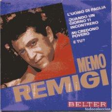 Discos de vinilo: MEMO REMIGI / L'UOMO DI PAGLIA + 3 (EP 1966)) NUEVO SIN PONER. Lote 103218783