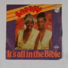 Discos de vinilo: SNOOPY. - IT'S ALL IN THE BIBLE. TDKDS9. Lote 103258379