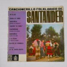 Discos de vinilo: CANCIONERILLO FOLKLORICO DE SANTANDER. CANTABRIA. RONDA DE TANOS. MONTAÑESA. A LO PESAU. TDKDS9. Lote 103282651