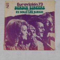 Discos de vinilo: BENDIK SINGERS. - IT'S JUST A GAME - ES SOLO UN JUEGO. NORUEGA. EUROVISION 1973. 73'. TDKDS9. Lote 103301767