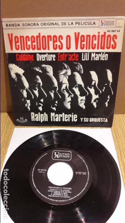 B.S.O. VENCEDORES O VENCIDOS. / RALPH MARTERIE. EP / 1962 / MBC. ***/*** (Música - Discos de Vinilo - EPs - Bandas Sonoras y Actores)